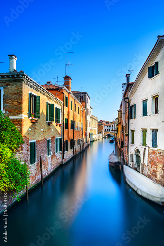 Venice cityscape, water canal, bridge and buildings. Italy - 55873718