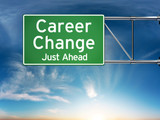 Career change just ahead depicting a new choice in job Career
