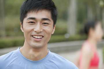 Young Man in exercise clothing in a Park, Beijing, China