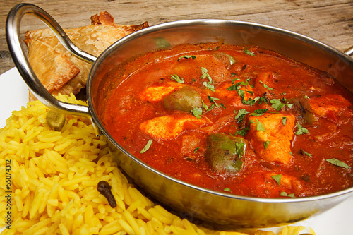 Chicken jalfrezi in balti dish with rice