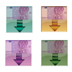 Set of web buttons with euro banknote