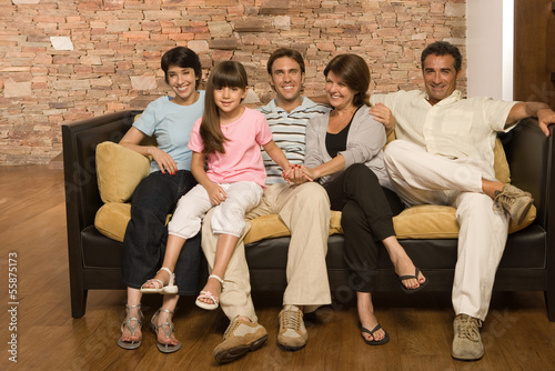 Family on a sofa