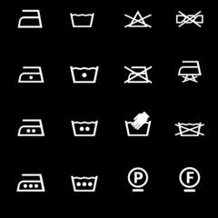 washing icons set