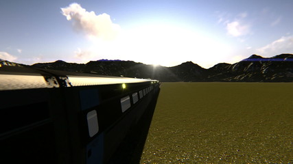 Train passing on a rail road at dusk