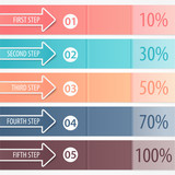Business banners, colorful arrows. Step strategy. Infographics