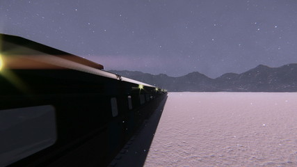 Train traveling in the snow