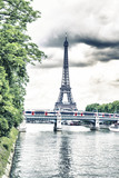 Tower Eiffel and Metro reflex on the Seine river