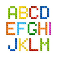 Plastic construction blocks alphabet