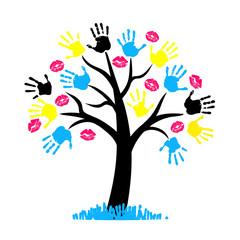 CMYK color for printing. Tree with hang print and lips kiss