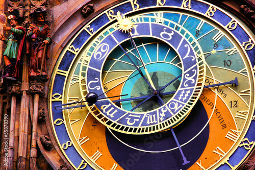 canvas print picture Close up of the Prague astronomical clock, Czech Republic