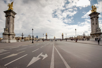 Empty street and Alexandre the third bridge with a view on the I