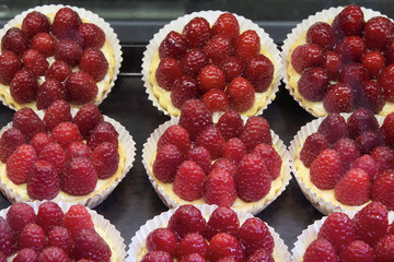 Custard Fruit Tarts with Raspberries