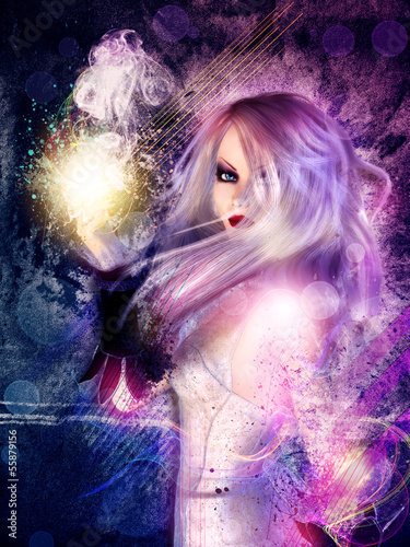 Witch on grunge background