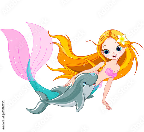 Poster Zeemeermin Cute Mermaid and dolphin