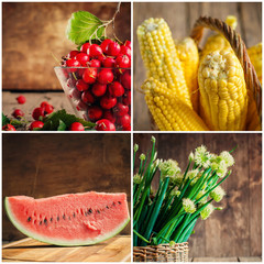 Collage of fresh vegetables, berries and fruits, selective focus