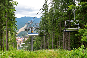 chair lift in the mountains in summer