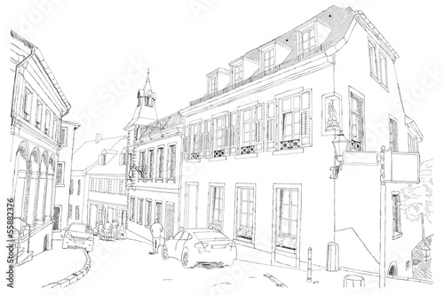 urban sketch of Baden-baden in Germany