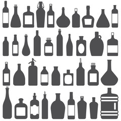 Various bottles vector silhouette icons set