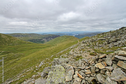 view from helvellyn peak, lake district, england, united kingdom