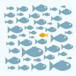 Постер, плакат: Schwarm Fische anders denken anders sein