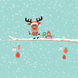 Rudolph Ringing Bell Pulling Sleigh Gift Tree Retro