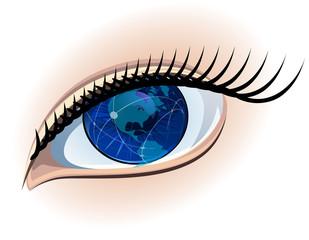 Global sight. World vision. Vector.