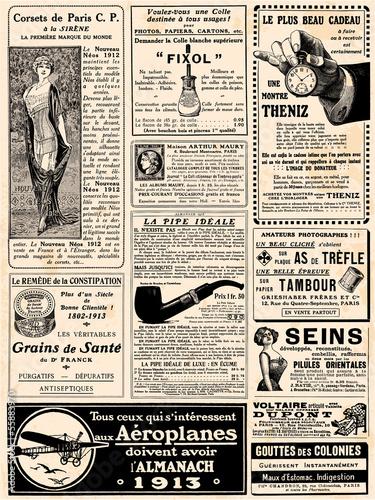 Fotobehang Retro Page de pub vers 1913