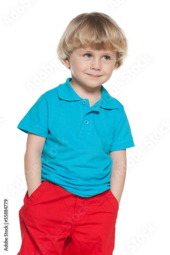 Curious little boy in blue shirt