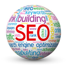 """SEO"" Tag Cloud Globe (search engine optimization website links)"