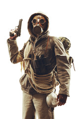 Post apocalyptic survivor in gas mask