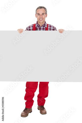 Technician Holding Blank Placard