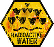 radioactive water warning sign, grungy style