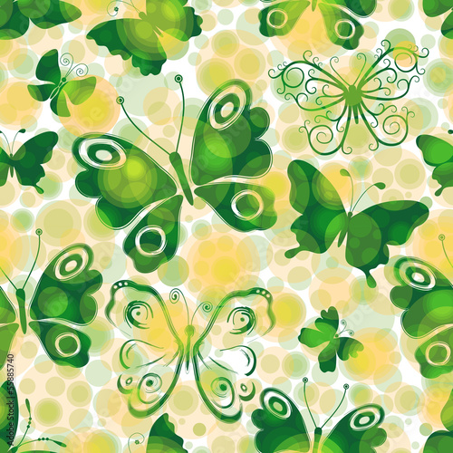 Spotty spring seamless pattern with green butterflies