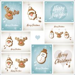 karte weihnachten schneemann rentier weihnachtsmann – vektor