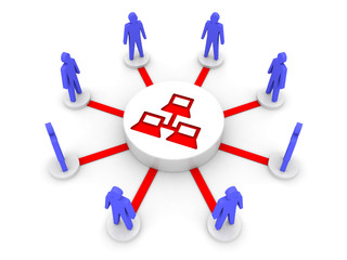 Internet. Private network. Concept 3D illustration.