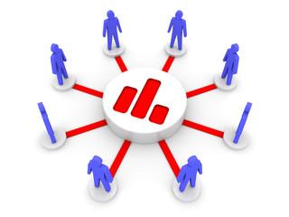 Analyzing team. Public statistics. Concept 3D illustration.