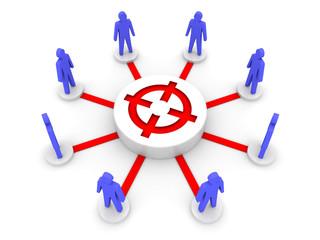 Team target. Common goal. Concept 3D illustration.