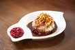 Delicious duck breast dish with rice and chutney