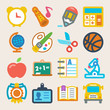 School colorful flat icons