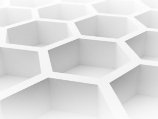 Abstract 3d architecture background with honeycomb