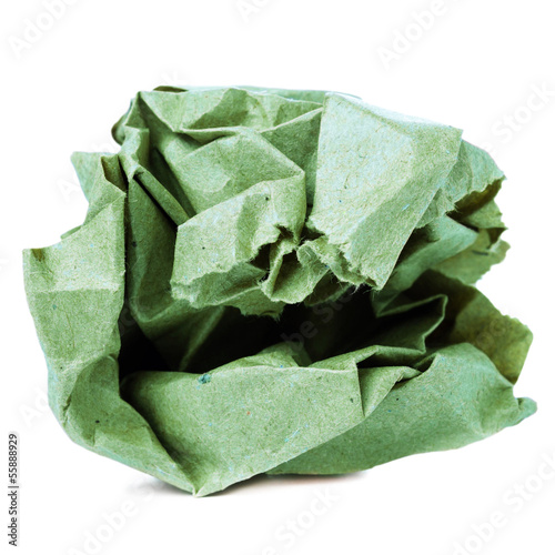 Crumpled colored  recycled paper ball isolated on white backgrou