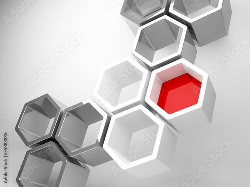 Abstract technology background with honeycomb