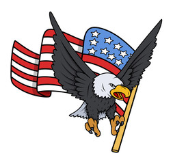 Bald Eagle with American Flag - Patriotic Vector