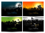 Set of four Halloween backgrounds