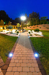 Night view of modern garden
