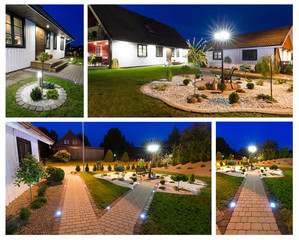 Modern villa at night- collage