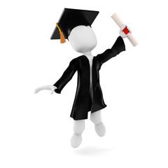 3d man student graduation
