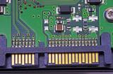 Sata harddisk connector, close up image poster