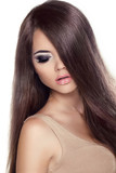Beauty Girl Portrait. Fashion Model Woman with Long Healthy Brow poster