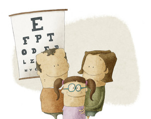 Family visits oculist doctor